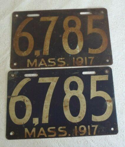1917 Massachusetts License Plate 6785 pair