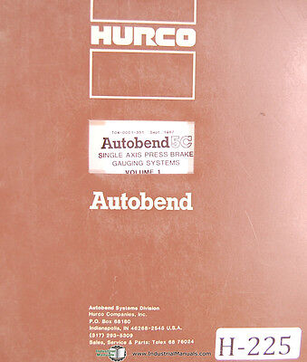 Hurco Autobend 5C Programming & Operations Manual Year (Vintage 1987)