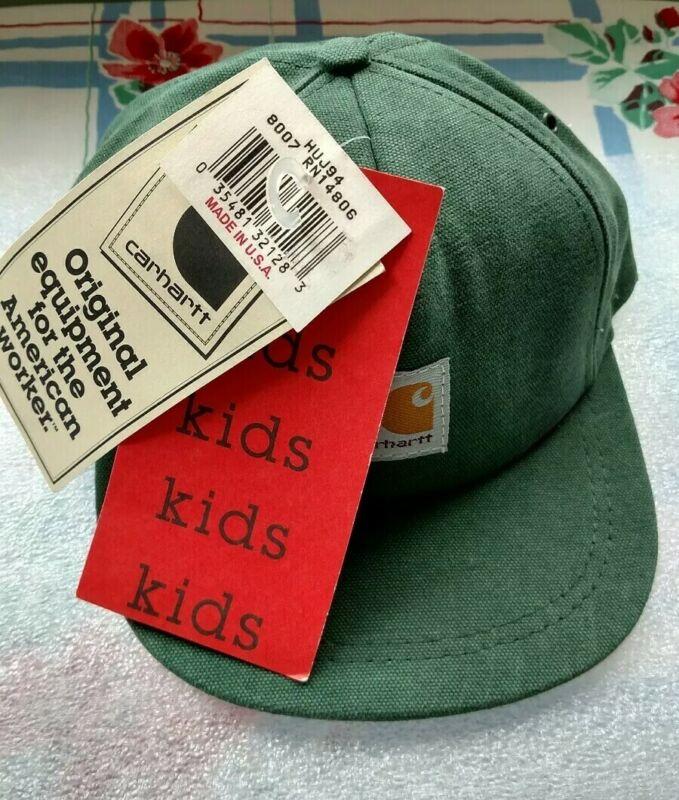 Vtg Carhartt Youth Sz Logo Ball Cap Hat Adj Snapback Green Duck Canvas USA NWT