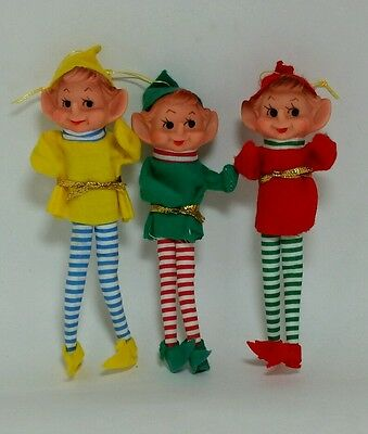 Vintage Christmas Striped Pixies Elves Hanging Ornament Lot of 3 Made in Japan
