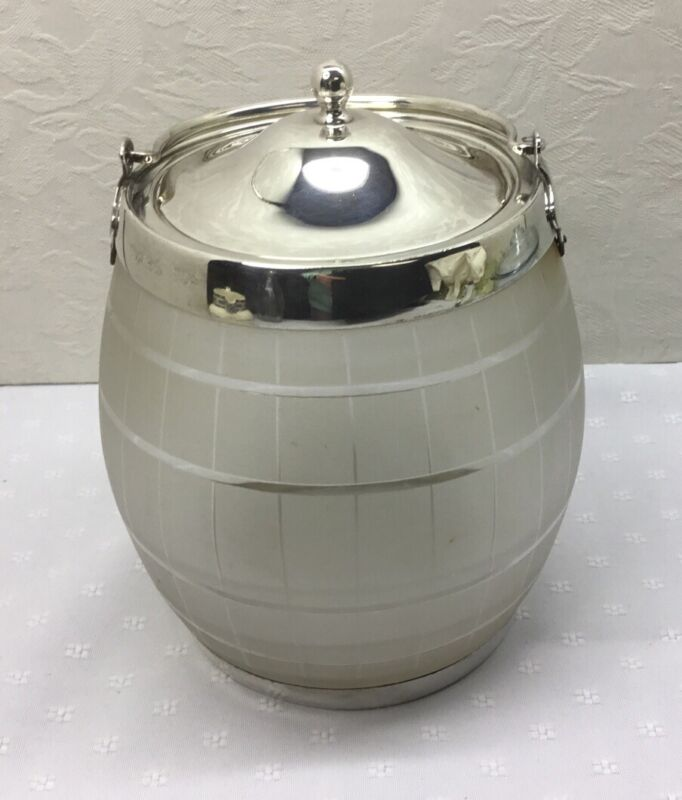 ANTIQUE BISCUIT BARREL/ICE BUCKET - Silverplate & Glass, Marked EPNS, GFB