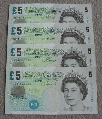 BANK OF ENGLAND £5 notes (Bailey) 4 x CONSECUTIVE JH48 555346-49 - UNCIRCULATED