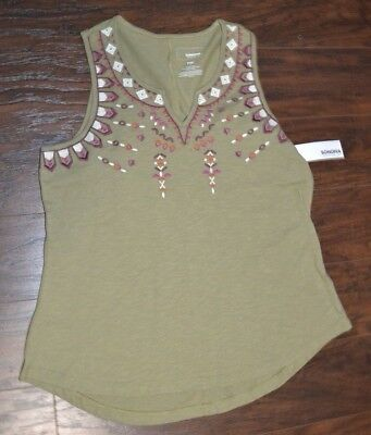 Tank Top Sleeveless Bluse (Sonoma Embroidered Tank Top Sleeveless Top Accent Embroidery )