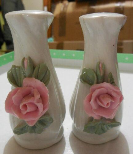 Vintage Salt & Pepper Shakers - Pink Rose Vase