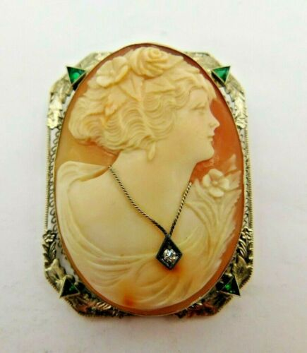 Art Deco 14K White Gold CAMEO w/ Emerald & Diamond Necklace Pin Brooch Pendant