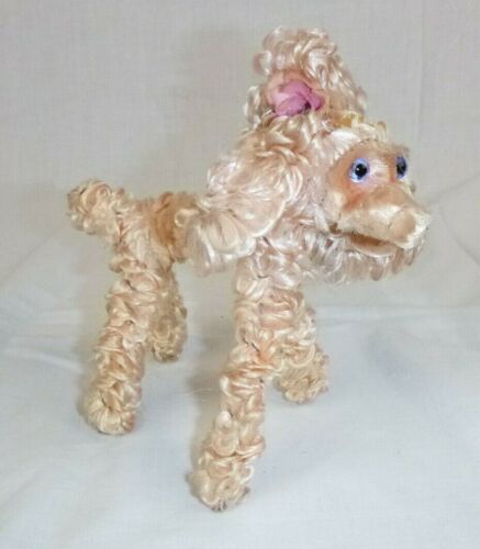 """Vtg mid Century Pipe Cleaner Chenille Poodle Dog Blush Pink 6"""" H"""