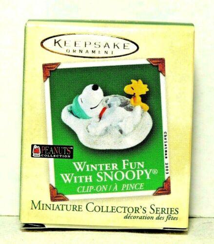 Hallmark 2003 Winter Fun with Snoopy Woodstock Miniature Ornament Series #6