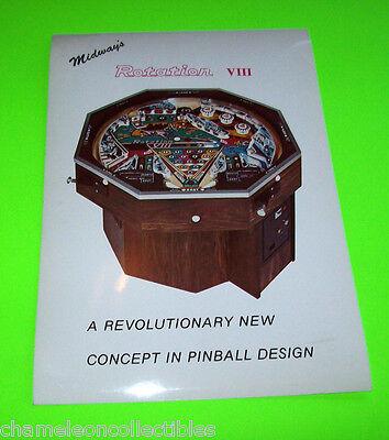 Midway ROTATION VIII Original 1978 NOS Pinball Machine Promo Postcard Flyer