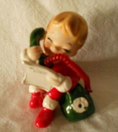 "Josef Originals 2 1/ 2"" Christmas Boy On Phone With Santa  Xmas List Japan"