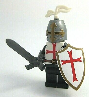 Lego Custom KNIGHT TEMPLAR w/ Shield, Armor, Weapons -Castle- NEW