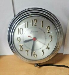 MID CENTURY MODERN Sessions Electric Kitchen Chrome Wall Clock WORKS MODEL 6W