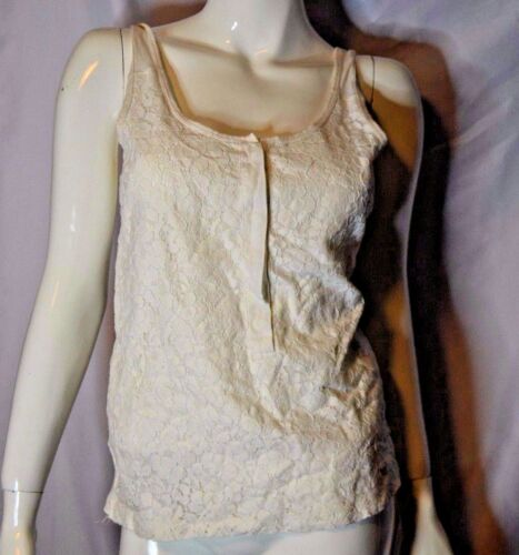 J. Crew Cream White S Tank Top Lace Front Floral Pattern Sleeveless Round Neck