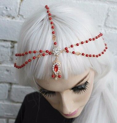 RED ASIAN BINDI STYLE BRIDAL DIAMANTE PEARL GOLD TONE HAIR HEAD CHAIN HEADBAND - Bindi Headband