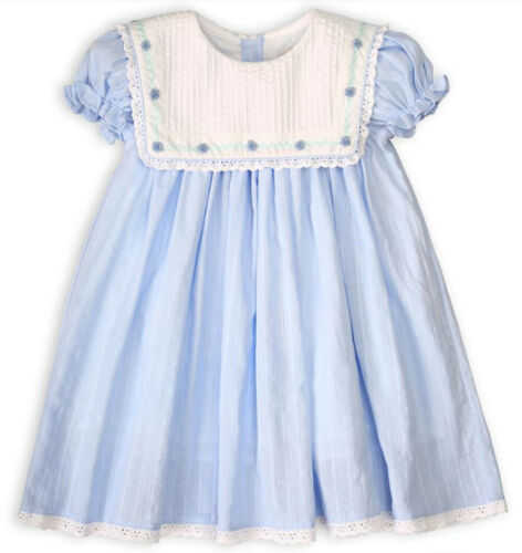 Girls Blue Linen Embroidered Float Dress Babeeni 6m-6 Years Easter NWT