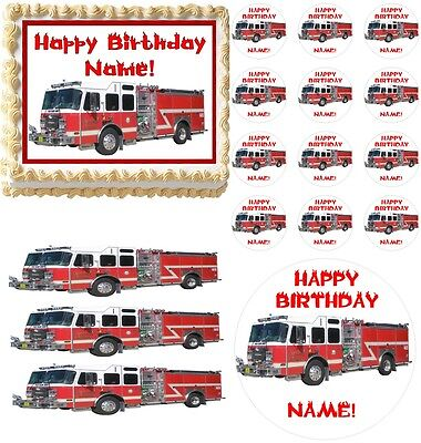 FIRE TRUCK Rescue Vehicles Party Edible Cake Topper Frosting Sheet - All Sizes! - Fire Truck Cake