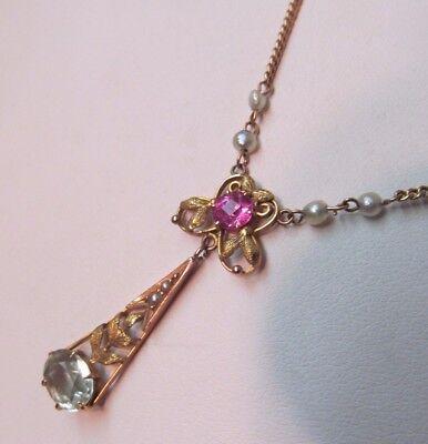 Art Nouveau Rhinestone & Pearl Pendant Drop Necklace Pearl Cabochons 14K GF