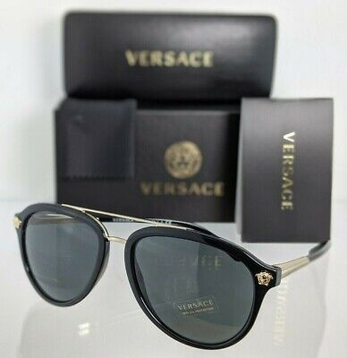 Brand New Authentic Versace Sunglasses Mod. 4341 GB1/87 58mm Black & Gold Frame