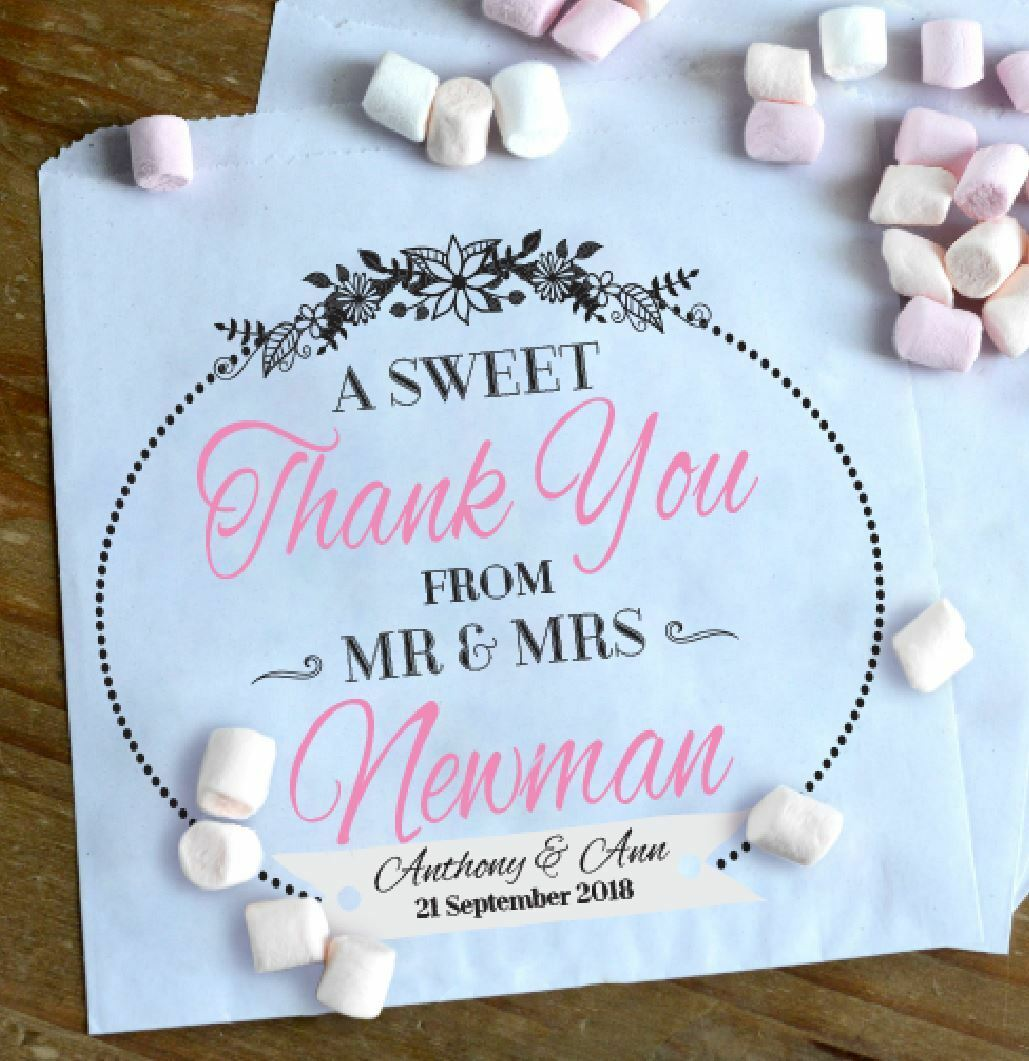 Personalised sweet sweetie candy cart favour bags birthday