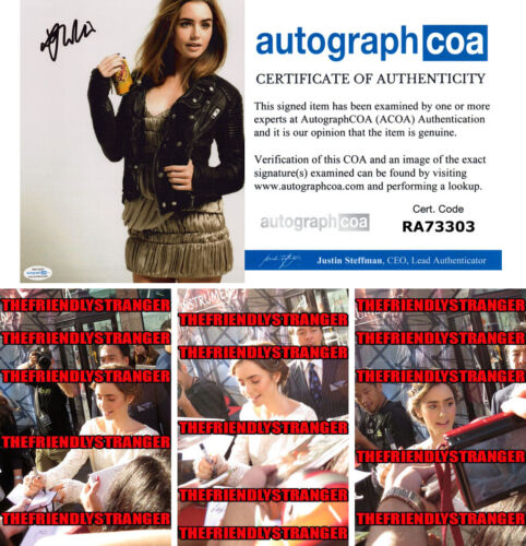 LILY COLLINS signed Autographed 8X10 PHOTO I - PROOF - Hot SEXY Tolkien ACOA COA