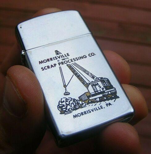 Vintage 1966 Zippo Cigarette Lighter w/ Morrisville PA Crane Advertising Damaged
