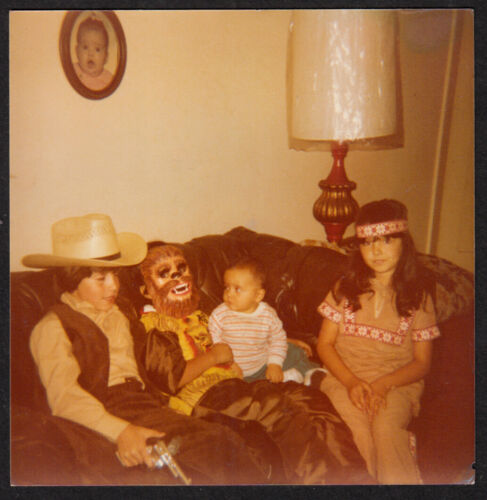 CHEWBACCA COSTUME MASK BOY & LEERY BABY~ 1970s VINTAGE HALLOWEEN STAR WARS PHOTO
