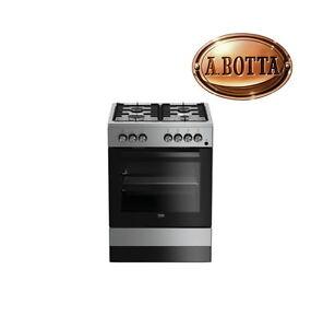 cucina a gas con 4 fuochi beko fse62110dx silver forno elettrico ... - Cucina 4 Fuochi Forno Elettrico