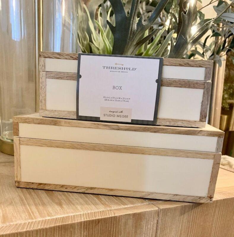 Threshold Studio McGee Large & Small Decorative Wood Edge Resin Inlay Ivory Box