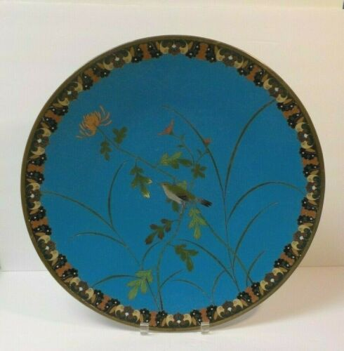 """19th C. Chinese CLOISONNE Enamel 18"""" Charger, Bird & Flowers"""