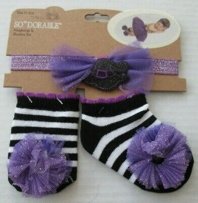 NWT-So Dorable/Adorable-Halloween Infant Stripe Witch Socks/Headband-0-6 Month - Adorable Baby Girl Halloween Costumes