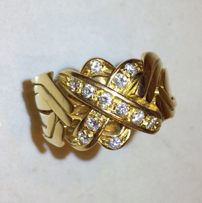 Puzzle Ring: 6-band 14k Yellow Gold + @1/2 karat Diamonds