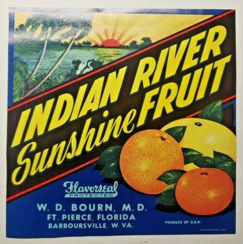Vintage Indian River Original 1940s Barboursville W. VA. Fruit Crate Label (B-2)