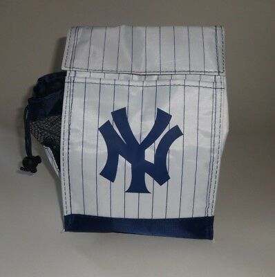 NY YANKEES ~ INSULATED LUNCH BAG ~ WHITE & BLUE PINSTRIPE TOTE ~ 2015 SGA - NEW!