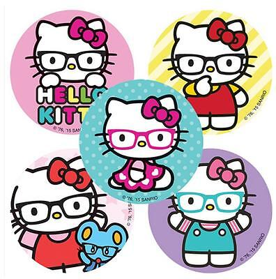 25 Assorted Hello Kitty Nerd Glasses Stickers, 2.5