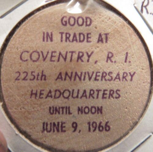 1966 Coventry, RI 225th Anniversary Wooden Nickel - Token Rhode Island #3