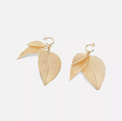 Zara Golden Dangling Metallic Leaf Earrings - Rare - Sold Out - New w/ tags