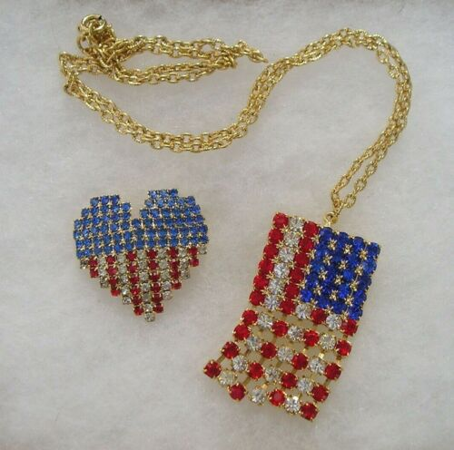 Alex & Ani Patriotic Red White Blue Crystal American Flag Necklace Pin Lot