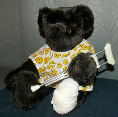 "Vermont Teddy Bear Co.""Broken Foot/Leg/Crutches/Smiley Hospital Gown""Teddy Bear!"