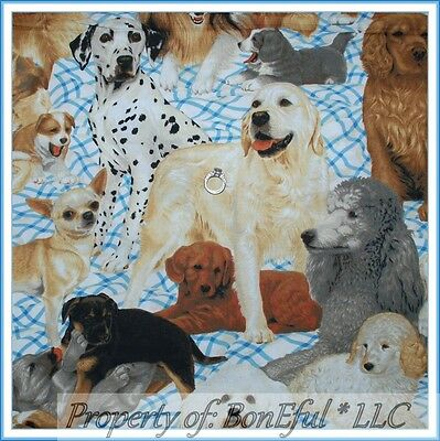BonEful Fabric FQ Cotton Quilt Puppy Dog Large L Breed Bed Dalmatian Poodle Gray
