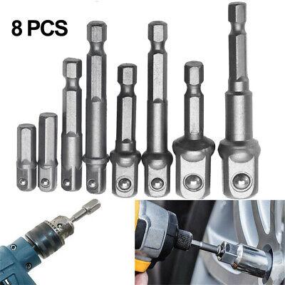 8pcs Square Drive Socket Adapter Impact Hex Shank 1/4