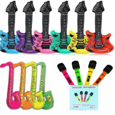Inflatable Music Instruments Guitar Saxophone Microphone Blow Up Party Prop Fun