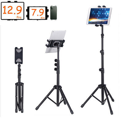 1.9-4.5ft Extension Tablet Floor Stand Tripod Mount Holder for iPad Mobile Phone