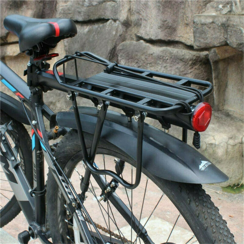 110 lbs Load Cycle Bike Rear Rack Adjustable Alloy Carrier Seat Support Bracket