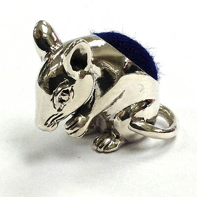 MINIATURE EDWARDIAN STYLE MOUSE PIN CUSHION STERLING SILVER 925 HALLMARKED