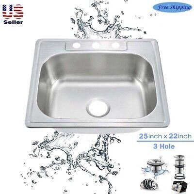 18Gauge Stainless Steel Single Bowl Topmount Drop In Kitchen Sink 3Hole 25