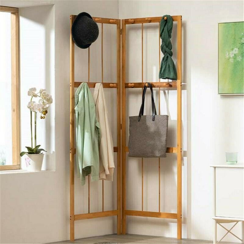 Folding Bamboo Coat Stand Corner Garment Rack Clothes Rail Wall Hanging Shelf US