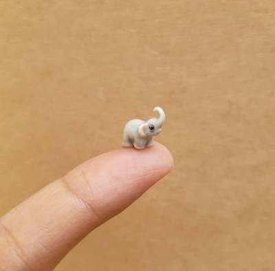 Ceramic Elephant Figurine Mini Elephant Collectible Thai Elephant Figurine Gift - Ceramic Elephant