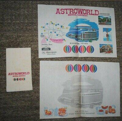Astroworld Hotel/Motels vintage paper placemats, 2 DIFFERENT PLUS BONUS, rare