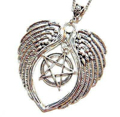 OVERSIZED WICCAN ANGEL WINGS NECKLACE pentagram pagan witch fallen heart goth -