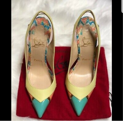 Pre-owned patent leather coral mint, yellow & clear cap toe Christian Louboutins