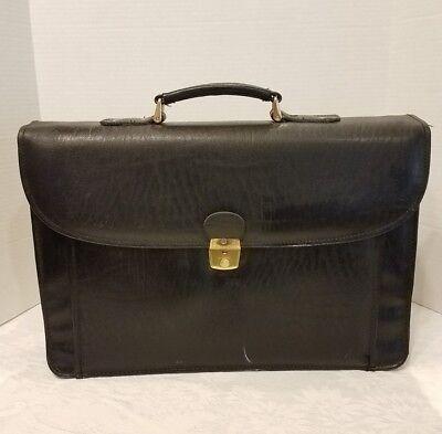 Black Executive Leather Briefcase Professional Business Bag Attache Laptop case